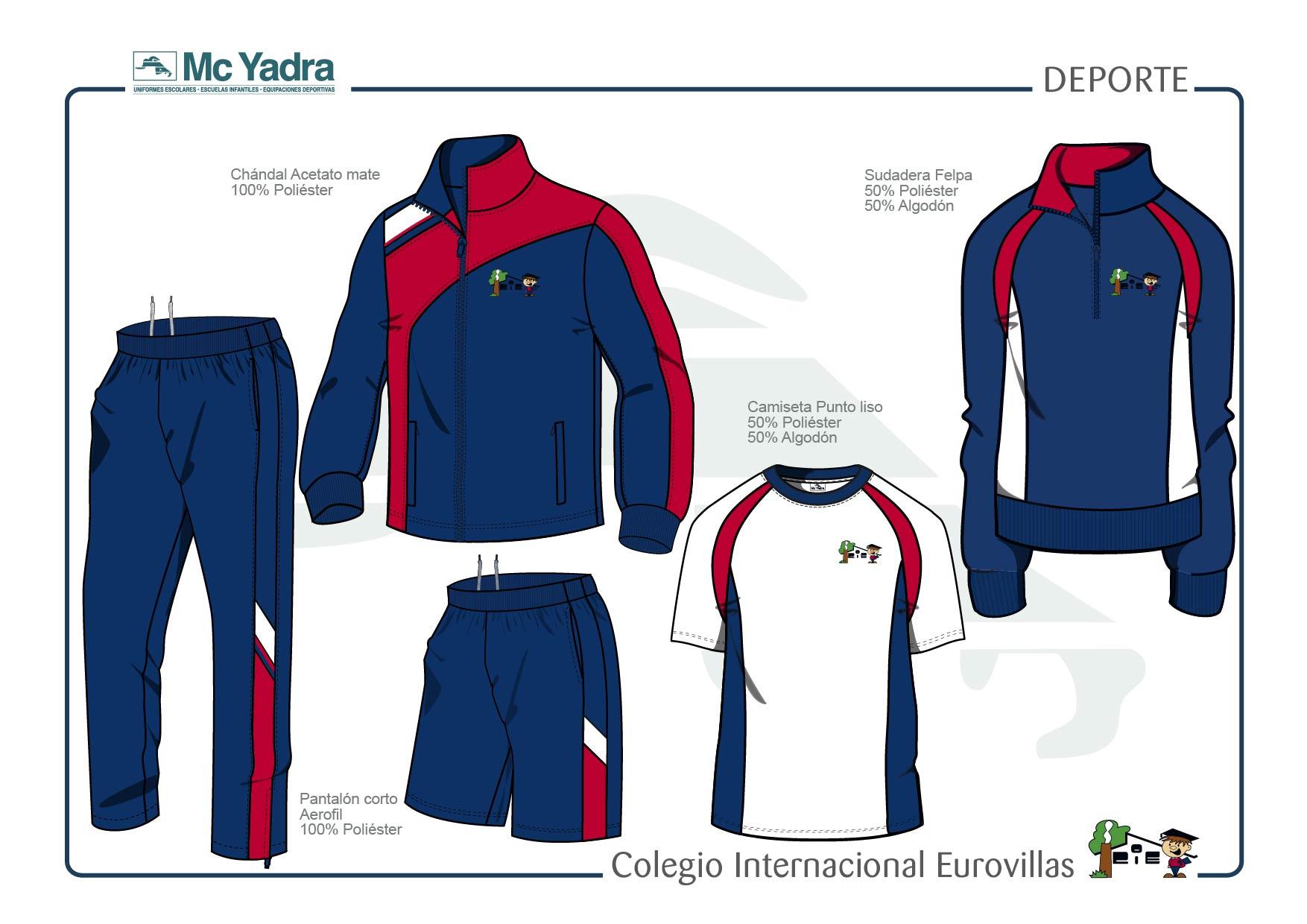 uniforme deportivo educación primaria y secundaria colegio eurovillas